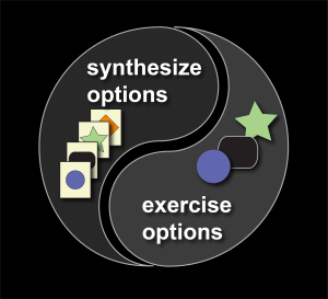 The interplay of synthesizing options and exercising options to improve antifragility